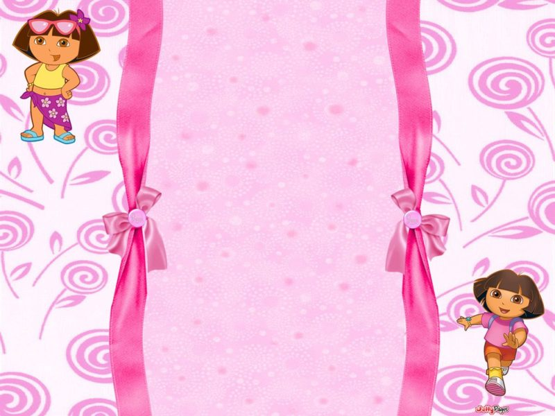 Cute Pink Dora The Explorer Invitation Template