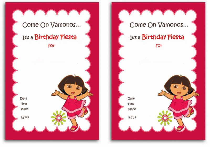 Dora The Explorer Invitation Sample