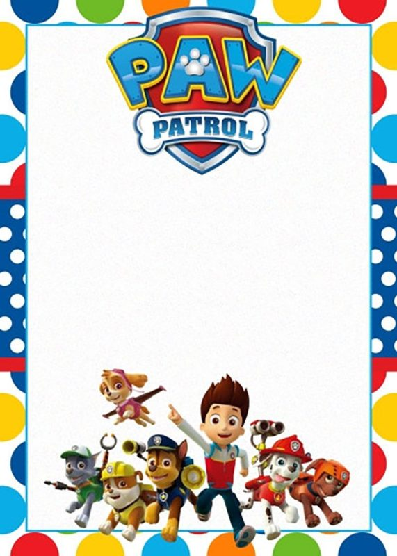 Free Printable Paw Patrol Invitation Template