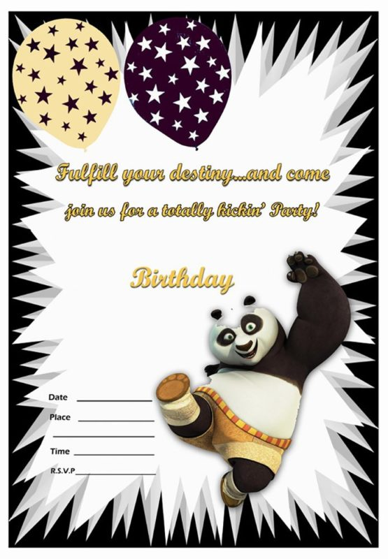 Kung Fu Panda Invitation Sample