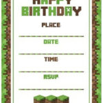 Minecraft Birthday Invitation Template 150x150