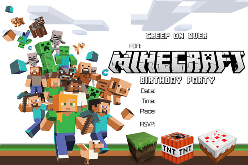 Minecraft Printable Invitation Card