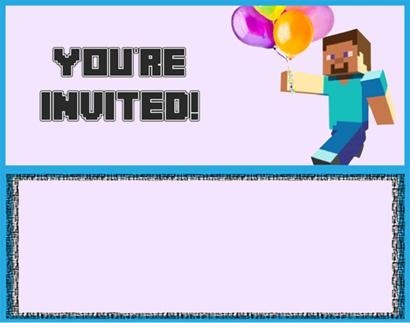Printable Minecraft Invitation Card