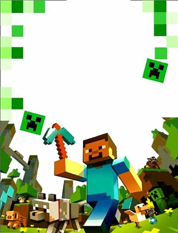 party at ease with minecraft invitations