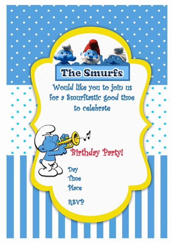 Smurfs Birthday Party Invitation Free Printable Invitation Templates