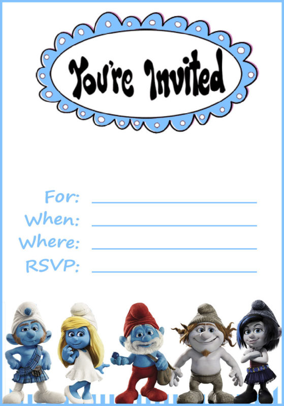 Smurfs Invitation Free Printable Invitation Templates