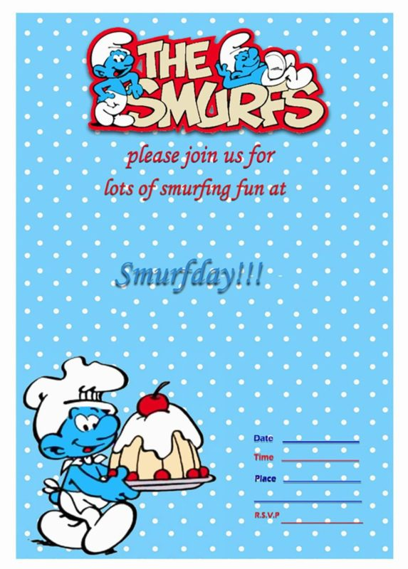 smurfs invitaton template