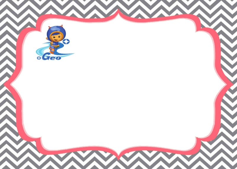 Team Umizoomi invitations Geo printable template