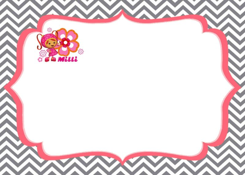 Team Umizoomi invitations Milli Printable Template