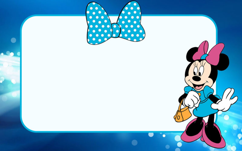 Minnie Mouse Invitation Card Blue