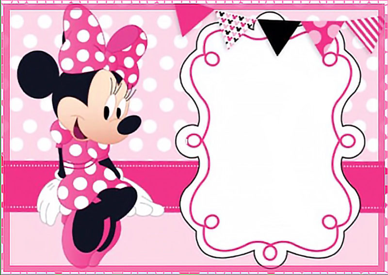 Printable Minnie Mouse Birthday Party Invitation Template   Free