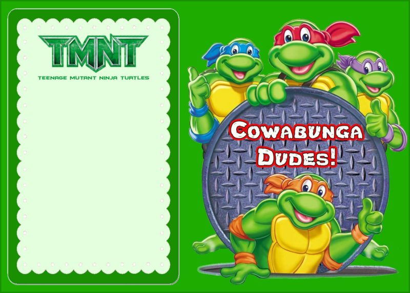 ninja turtles birthday invitations template 1 free ninja turtles