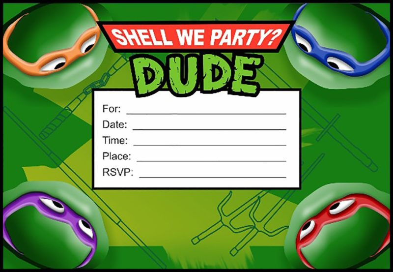 Ninja Turtle Party Invitation Card Free Printable Invitation Templates