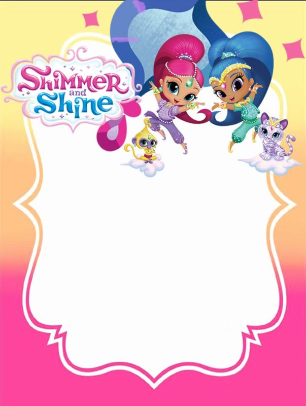Free Printable Shimmer and Shine Invitation Card