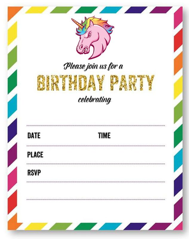 Free Printable Unicorn Birthday Party Invitation