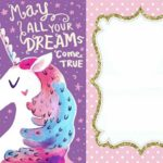 Free Printable Unicorn Invitation Card 150x150