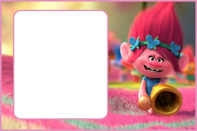 Editable Trolls Invitation Card
