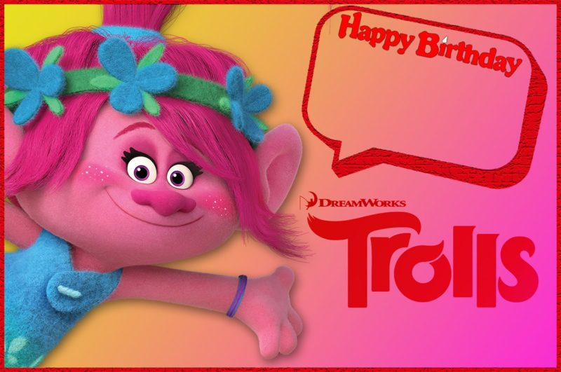 Trolls Birthday Invitation for Girls