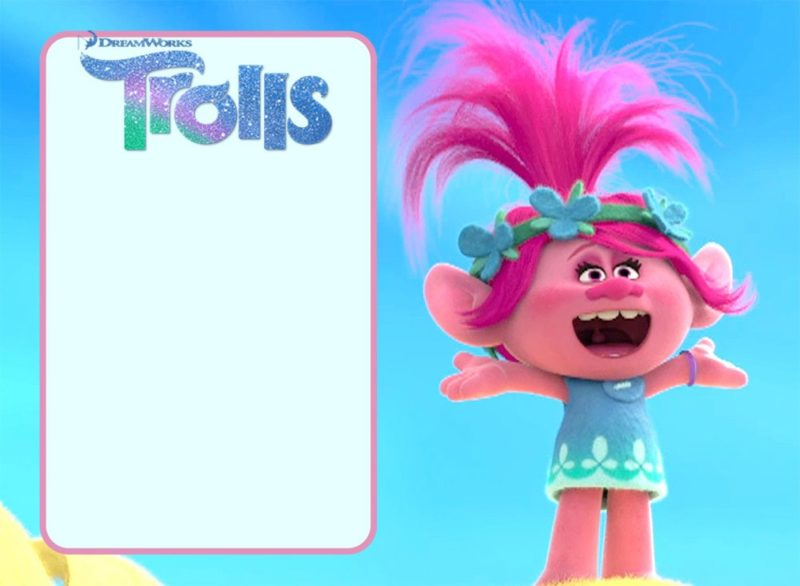 Trolls Invitation Card for Girls