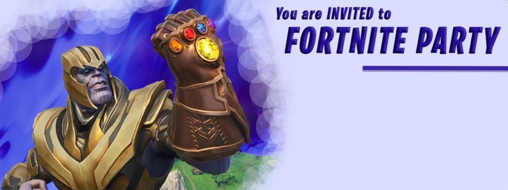 Fortnite Birthday Party Thanos Invitation 1024x384