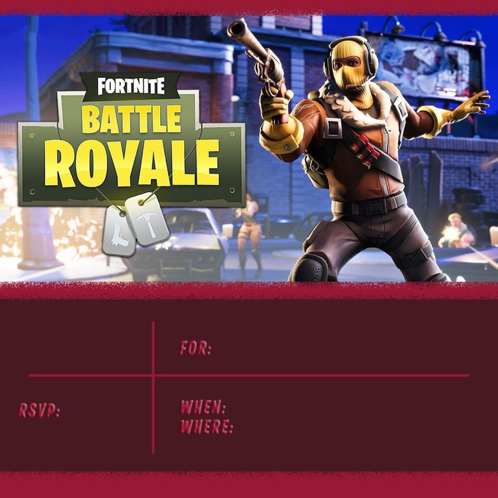Free Printable Fortnite Battle Royale Invitation 1024x1024